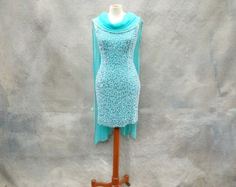 Vintage 70's blue beaded mini cocktail dress with chiffon shawl - 70s turquoise iridescent wiggle party dress -  medium