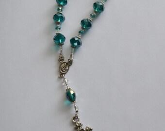 Pocket Rosary/Single Decade Rosary/Tenner/Chaplet/Mini Rosary ~ Cyan Crystals