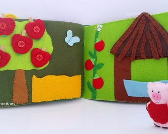 Quiet Book Three Little Pigs, Felt Story Book