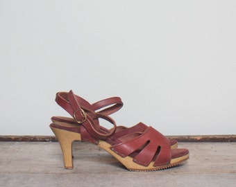 size 8 | Burgundy Leather Strappy Heeled Sandals by Diesse