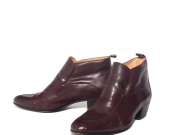 40% off Sale 7 D | Men's Playboy Boots Burgundy Leather Ankle Dress Boots
