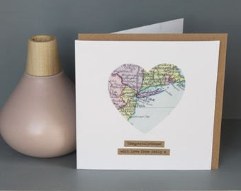 Personalized Vintage Map Cards