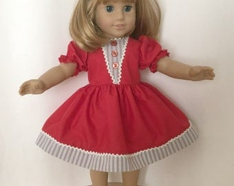 American Girl Doll Dress, handmade, red with gray and white stripe trim.
