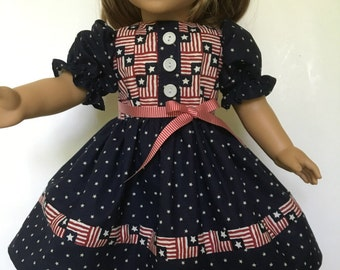American Girl Doll Dress, Red White Blue, Patriotic, Handmade