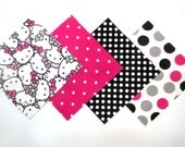 """48 Piece Flannel Rag Quilt Kit 6""""x6"""" Pre Cut Quilt Squares in Fun Hello Kitty and Pink Black and White Matching Prints"""