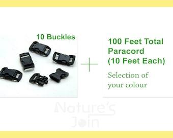 550 Paracord DIY Kit, 100 Feet Total 10 Feet Each + 10 Buckles, 7 Strand Type III Paracord, Selection Your Colour, Parachute cord Bracelet