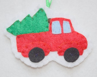Felt Christmas tree truck ornament