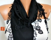 Black Heart Scarf, Fall Winter, Shawl Scarf, Pashmina  Scarf,  Gift Ideas For Her,  Cowl Scarf  LOVE Women Fashion Accessories