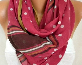 Polka Dot Cherry Cotton Scarf, Fall Winter Accessories, Shawl, Oversize Scarf, Cowl Scarf, Gift Ideas for Her,Women Fashion Accessories