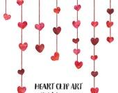 Red Watercolor Hearts Clip Art, Wedding Clip Art Digital Download, Commercial Use Wedding Invitation Clipart