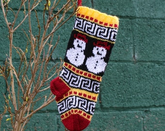 Small Knit Christmas Stocking with Fair Isle Snowman Yellow Red Handknit Holiday Sock Stranded knitting - Ready to ship SYR