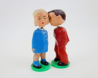 Vintage Kissing Bobble Heads Dolls Magneto Wedding Cake Toppers Made in West Germany