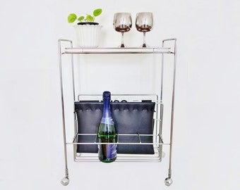 Mid Century Chrome Serving Cart, Bar and Magazines Rack Holder End Table