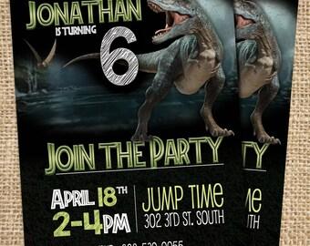 Jurassic World Invitation, Jurassic World Birthday Invitation, Custom Jurassic Park Invitation, Jurassic Printable Invitation, Indominus Rex