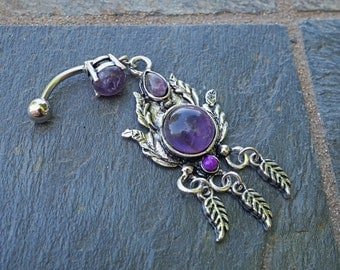 Amethyst Feathers Belly Button Rings