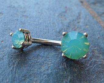 Mint Green Belly Button Ring Prong Set