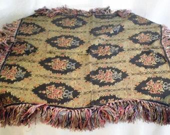 Vintage Tablecloth 1920's Rayon Fringed Floral Damask Tablecloth Rose Design Multi Color