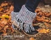 Crochet Boot Cuffs and Shawl Pattern: 'Boho Fringe Infinity Shawl & Boot Cuffs', Boho Fashion, Fall Fashion