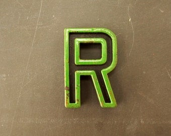 "Vintage Industrial Letter ""R"" Black with Green and Orange Paint, 2"" tall (c.1940s) - Monogram Display, Shadow Box Letter, Art Supply"
