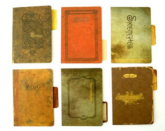 Steampunk Cardstock File Folders Variety Pack (Set of 6) - Paper Projects