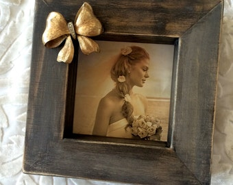 Picture Frame Vintage Jewel Bow Wood Block Wedding Bride Girl Personalize Modern Home Decor Rustic Wood Espresso White Brown