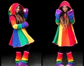Rainbow fleece 'Tournedot' jacket. Knee length(4).6 stripe sidhe sleeves. 6 stripe positively pixie hood