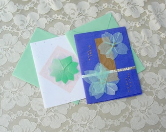 2 Origami Notecards, handcrafted white & periwinkle blue blank cards and pastel green envelopes