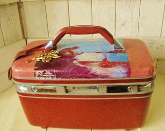Vintage train case carry on luggage embellished sheet music burgundy pink moonlight Colorado