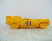 Vintage Yellow Futuristic Race Car Model Toy Co Kit Car - Mid Century Plastic Hand Crafted DIY Kit Figure - Lightweight Incomplete Model Car