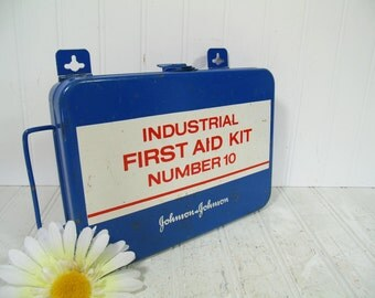 Vintage Johnson & Johnson Industrial First Aid Kit Number 10 Metal Box Kit - Red White Blue Enamel Metal Medical Chest Hanging Steel Cabinet
