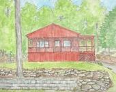 beach house, lake house, vacation house, custom painting, color portrait,