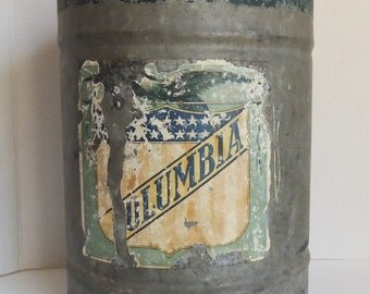 Antique Galvanized Metal Water Can With Brass Spigot Columbia Label Pat. 3-9-09 On Spigot Industrial Decor