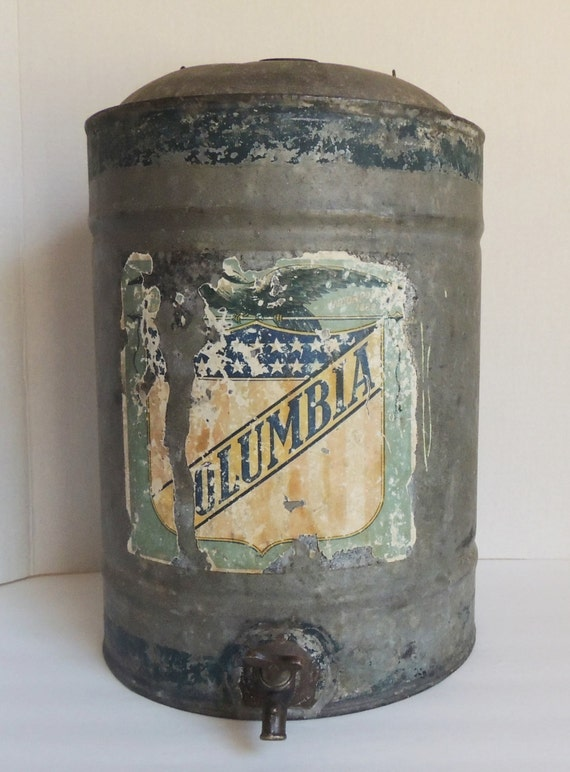 Antique Galvanized Metal Water Can With Brass Spigot Columbia