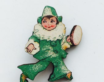 Kitsch Musical Circus Clown Jester in Green and White Costume Wooden Brooch Pin Birthday Gift Stocking Filler Gifts Themes Party Present