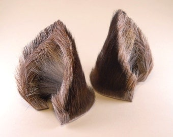 Dark Brown Gray Grey Striped Fur Leather Wolf Dog Fox Ears Inumimi Kitsune Fairy Cosplay Furry Goth Fantasy LARP Costume Pet Play