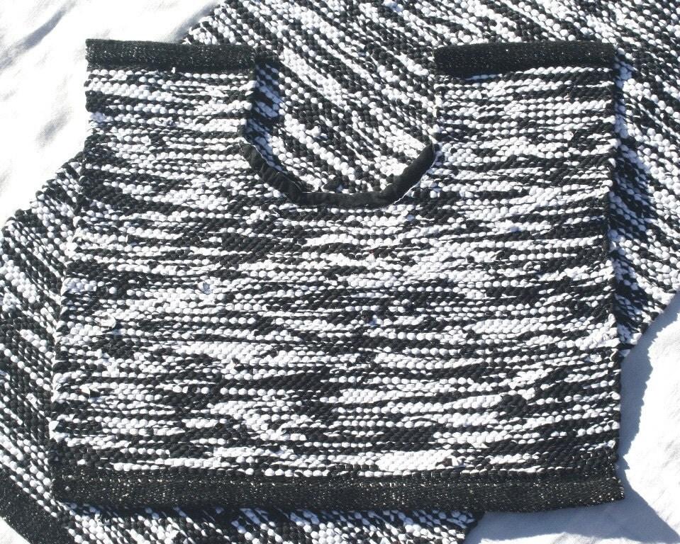 handwoven bathroom set bath mat toilet rug black and white