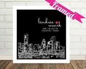 Houston Skyline Wedding Gift Art Print Personalized FRAMED ART Houston, Texas Any City Available Wedding Gift Ideas Valentines Day Gift