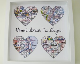 Heart Map Art Personalized Engagement Gift Unique Wedding Gift Ideas Map Art Gift Christmas Gifts for Couples Story of Us Map Heart Art