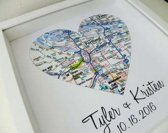 Personalized Map Art Gift Heart Map Art FRAMED Unique Wedding Gift Any Location Available Personalized Map Heart Valentines Day Gift