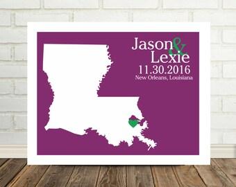 Louisiana Map Louisiana Wedding Gifts Louisiana Poster Louisiana Print State Map Art Christmas Gift for Newlyweds Valentines Day Gift