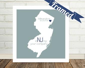 NEW JERSEY Map Print Anniversary Gift Framed Art Wedding Present Engagement Present Valentines Day Present State Map Art State Map Print