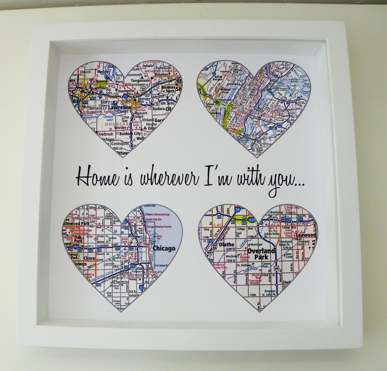 Wedding Gift Ideas For Young Couple : Heart Map Art Personalized Engagement Gift Unique Wedding Gift