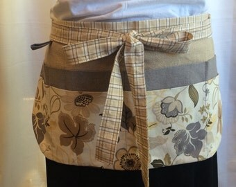 Utility Apron/Teacher Apron with 8 pockets and loop in taupe grey cream yellow floral