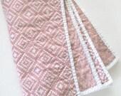Modern Baby Quilt Blanket, Baby Girl Blanket, Whole Cloth Quilt, Scandinavian, Nordic, Swiss Cross, Plus signs