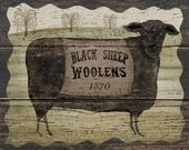 Black Sheep Woolens, Original folk art, 8x10, printable download