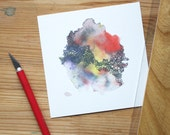 OOPS! Blurry OFTENTIMES mini watercolor art print in red, yellow, purple