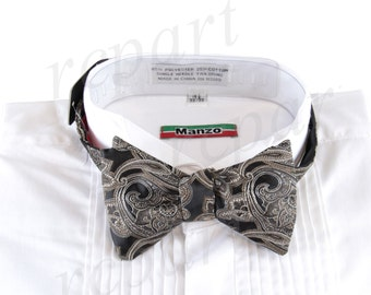 New Micro Fiber Men's Paisley Self-Tie Bow tie & hankie, Formal Occasions (569R)