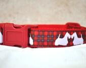 Dog Collar -Tartan Scottie or Westie Dog - 50% Profits to Dog Rescue