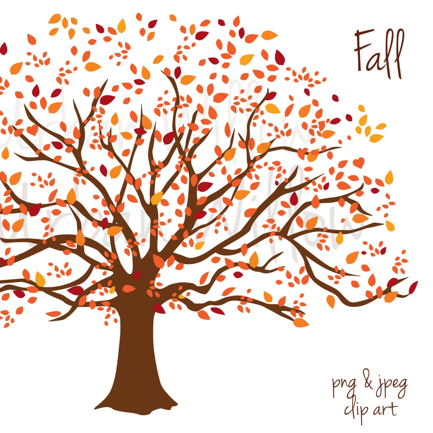 FALL, Clip art tree - Clip art image in 3 sizes (Small to ...