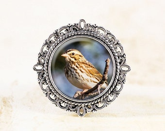 Silver Sparrow Brooch - Sparrow Bird Jewelry Brooch, Nature Photography Jewelry,  Bird Photo Brooch, Nature Brooch, Silver Bird Brooch Pin